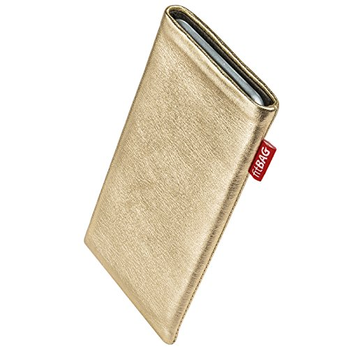 fitBAG Groove Gold Handytasche Tasche aus feinem Folienleder Echtleder mit Microfaserinnenfutter für Apple iPhone 5 / 5s / SE 16GB 32GB 64GB | Hülle mit Reinigungsfunktion | Made in Germany