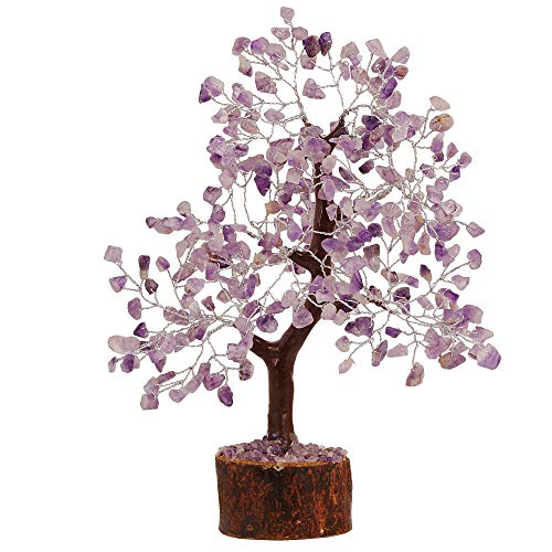 FASHIONZAADI Amethyst Gemstone Bonsai Money Chakra Tree Feng Shui Crystal Chakras Stone Healing Crystals Trees Good Luck Home Office Table Décor Health Prosperity Size 10-12 inch (Silver Wire)