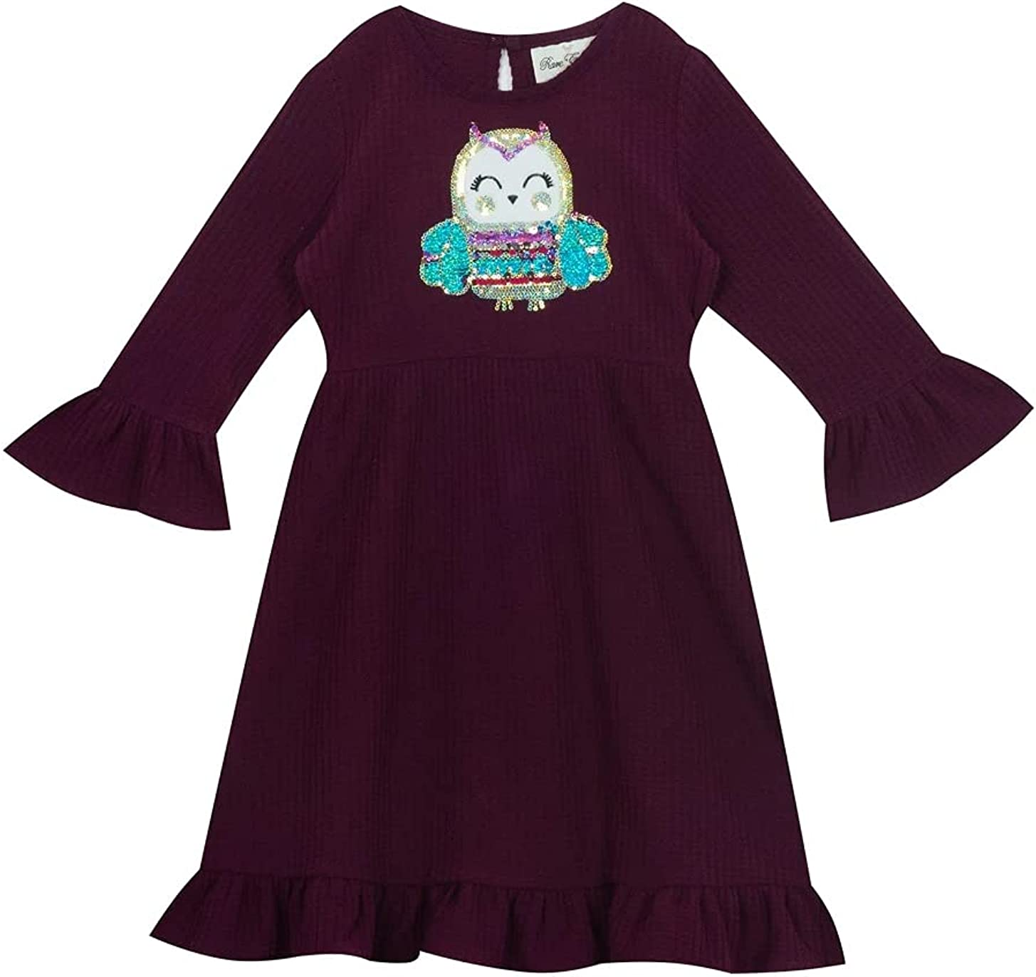 Rare Editions Eggplant / Purple Sweater Dress with Sequined Owl (2t-6x)