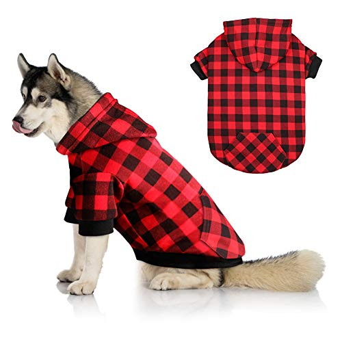 Red Plaid Dog Hoodie Sweater for Large Dogs Pet Clothes with Hat and Pocket(L)