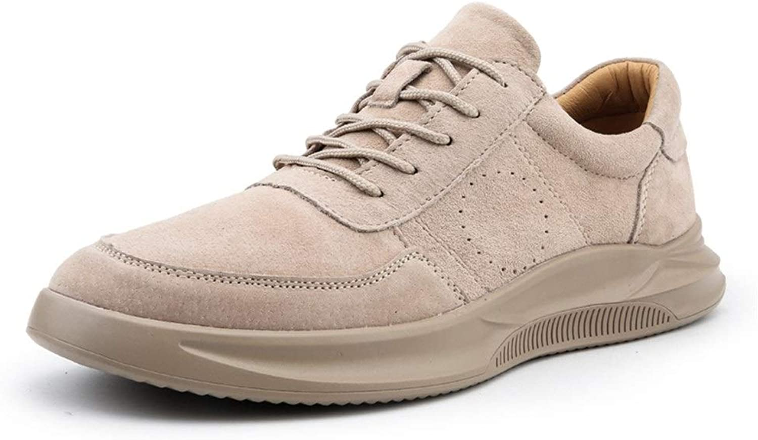 Easy Go Shopping Sneakers For Men Genuine Leather Comfortable Soft Breathable Outdoor Sport Running Anti-slip Flat Lace Up Sneakers Cricket shoes (color   Sand, Size   8 UK)