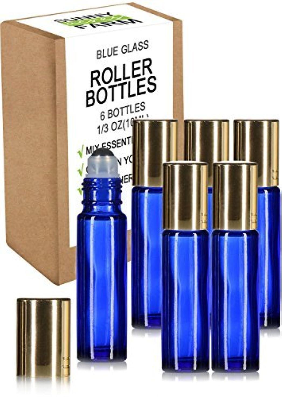 受付ベアリングサークルオフセットRioa 10ml(1/3oz) Cobalt Blue Glass Roller Bottles With Stainless Steel Roller Ball for Essential Oil - Include 6 Extra Roller ball [並行輸入品]