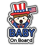 GEEKBEAR Baby on Board Sticker and Decal (US boy, 1 Pack) - Baby Bumper Car Sticker - Baby Window Car Sticker - Baby in Car Sticker - Cute Safety Caution Decal Sign for Cars
