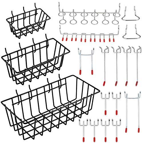 Luntus Pegboard Hooks with Basket Assortment Home Storage Hooks System Peg Board Tool Hanger Set Garage Kitchen Workshop Organizer Utility Hooks