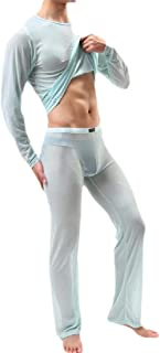 Men's Sexy T-Shirt Long Sleeve Mesh Top and Long Pants Set Outfits