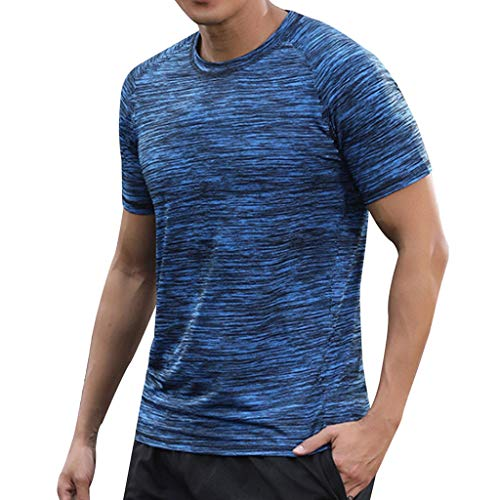 Xmiral T-Shirt Herren Lässige Atmungsaktive Herren-T-Shirts mit Rundkragen und Schnell Trocknender Kleidung T-Shirt Geschnittenes Shirt für Männer(Blau,L)