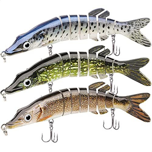 GOTOUR Fishing Lures, Full-Size Multi Jointed Swimbait, Slow Sinking Noisy Swimbaits for Bass Fishing,Lifelike Swimming Fishing Lure Freshwater or Saltwater, Trout Perch Pike Walleye Bass Lures Kit