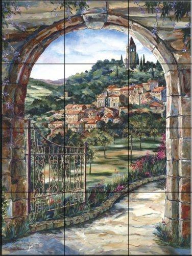 Ceramic Tile Mural - Golden Gate To Umbria - da Karen Stene - Cucina splashback / doccia Bagno