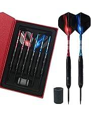 Dartpijlen 23 g Steel Dart 6 stuks dartpijlen met metalen punt, professionele stalen darts met aluminium schachten en 2 flights + case
