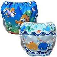Luxja Pañal de Natación para bebes Bañador Reutilizable de Nadar de Bebé Pañal lavable para Bebé (0-3 años), Ballenas + Peces
