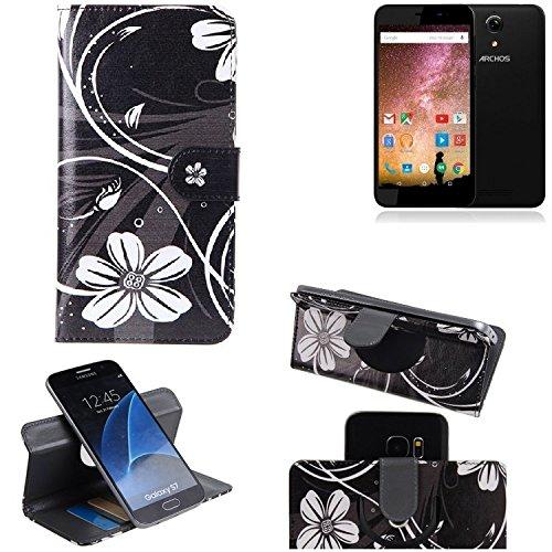 K-S-Trade® Schutzhülle Für Archos 50 Power Hülle 360° Wallet Case Schutz Hülle ''Flowers'' Smartphone Flip Cover Flipstyle Tasche Handyhülle Schwarz-weiß 1x