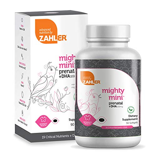 Zahler Mighty Mini Prenatal DHA, One a Day Prenatal Vitamins With DHA, Certified Kosher, 90 Softgels