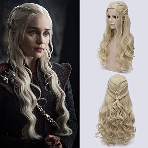 Rubyonly Game of Thrones Daenerys Targaryen Perücke Kunsthaar Lange gewellte Drachen von Mutter Perücken Halloween-Party-Damen-Kostüm,Gold