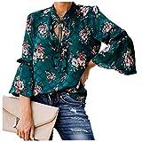 Landove Cable de camisa casual blusa de flores de la llamara