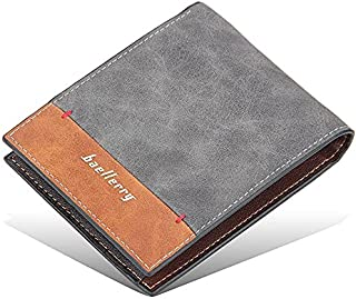 محفظة بايليري جلد للرجال بطبقتين - رمادي