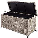 Casaria Auflagenbox 122x56x61 cm Poly Rattan Wasserdicht Rollbar 2 Gasdruckfedern Kissen Garten Box...