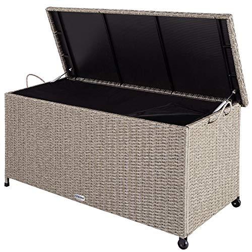 Casaria Auflagenbox 122x56x61 cm Poly Rattan Wasserdicht Rollbar 2 Gasdruckfedern Kissen Garten Box Truhe Grau Beige