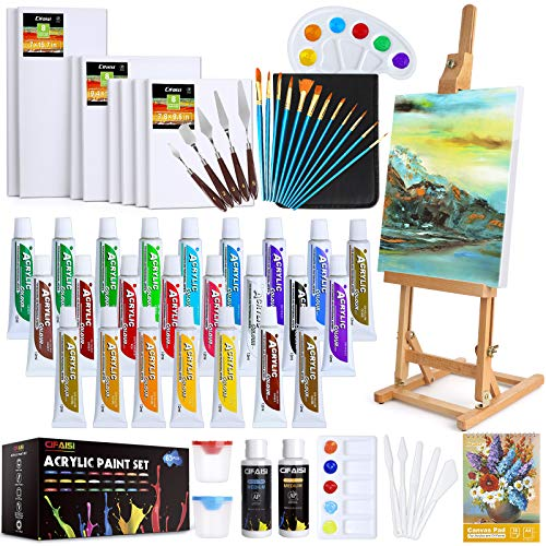 Acrylic Paint Set, 63pcs Complete Painting Supplies - 24 Colors Acrylic Paint, Canvases, Wooden Easel, Paint Brushes, Palette Knives and Accessories, Paint Set for Kids, Adults, Artists and Beginner
