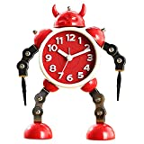 JVSISM DeformacióN Ni?Os Alarma Metal Robot Reloj Dibujos Animados Anime Mesa Escritorio Reloj Despertador Ni?Os Rojo