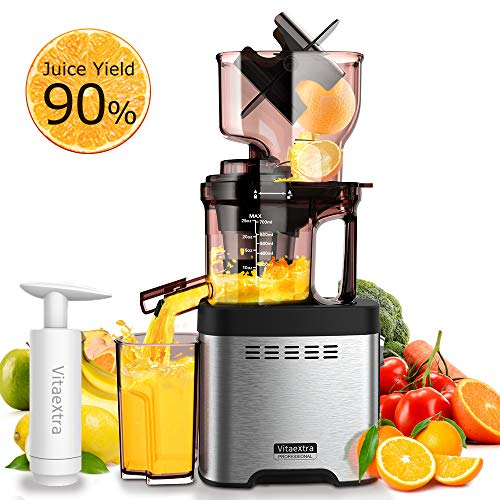 Slow Masticating Juicer Machine – Vitaextra Cold Press Juicer Extractor with Wide Chute, 35RPM High Juice Yield, Easy to Clean, Slow Juicer w/ Quiet AC Motor, Free Vacuum Cup for Nutrient Vegetables & Fruits Juice