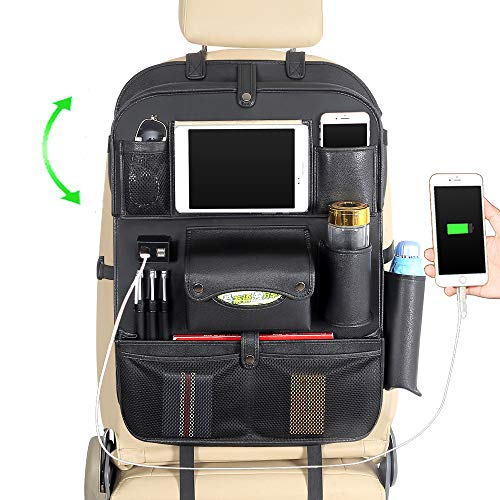 JY Sdyl Car Back Seat Organizer with Tablet Holder+4 USB Charging Ports,Multifunctional PU Leather...