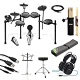 Alesis Nitro Mesh Electronic Drum Kit + Professional Headphones + Drum Mat + Pair of Sticks & Stick Holder + Throne + Music Sheet Stand + Instrument Cable + Stereo & USB Cables - Top Accessory Bundle!