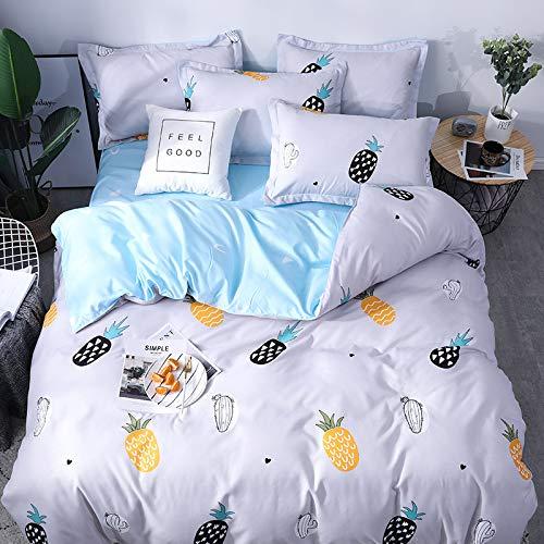 BH-JJSMGS Funda de edredón de algodón de Cuatro Piezas en la Cama, sábanas, Funda nórdica, piña 200 * 230 cm