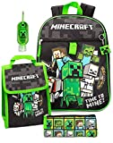Zaino Minecraft & Lunch Box Bambini 5 pezzi School School Bag Set One Size