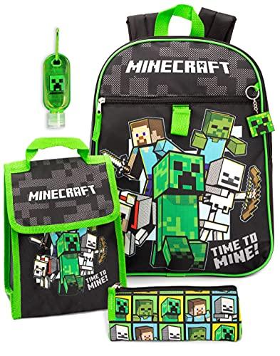 Minecraft Mochila y Fiambrera para niños 5 Piezas Escolar Un tamaño