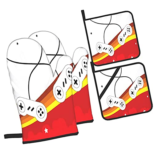 Gaming 70 's Gamepads Consolas Starbursts Diseño Retro Gamer Fun,4Pcs Guantes de Cocina y Juegos de Soportes para Macetas,con Caliente Almohadillas para Cocinar,Hornear,Asar a la Parrilla Guantes