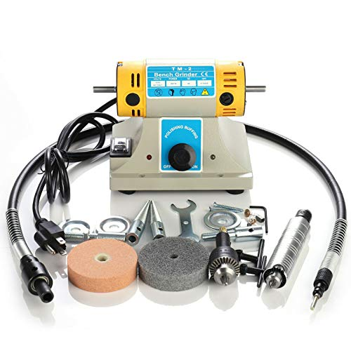 110V Jewelry Rock Gem Polishing Buffer Machine Bench Lathe Polisher 200W Electric Jewelry Rock Grinder Mill Grinding Machine Polisher Tool Kits