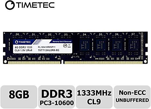 Timetec Hynix IC DDR3 1333MHz PC3-10600 Unbuffered Non-ECC 1.5V CL9 2Rx8 Dual Rank 240 Pin (8GB)