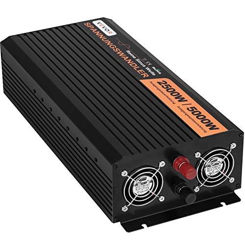 Mophorn Inversor de Corriente Sinusoidal Pura 24V DC a 230V AC Inversor de Corriente para Coche con Potencia Máxima de 5000W Inversor Solar Onda Pura