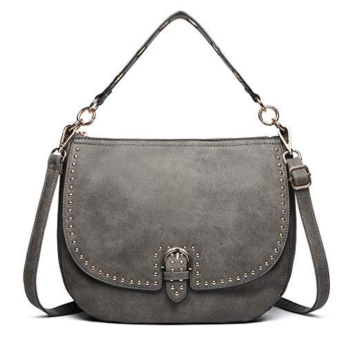 Miss Lulu Bolsos Mujer bandolera Shopper Tote Bolso PU PIEL (gris)