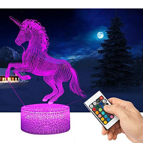 QiLiTd 3D Lampes Licorne avec Télécommande USB Câble, LED Lampe 16 Couleur Lumière Dimmable Tactile Interrupteur Alimentés par Batterie, Decoration Noël Cadeau pour Bébé Enfant Ado Femme Homme