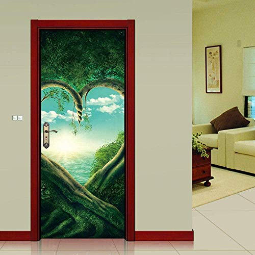 baozge Green Heart Plant Door Sticker PVC Self-Adhesive Wallpaper Waterproof Update Mural Decal-95X215CM-77X200 cm Rice