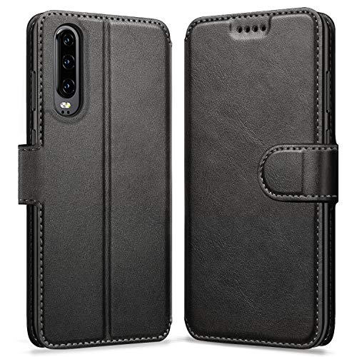 ykooe Handyhülle für Huawei P30 Hülle, Schwarz Leder Schutzhülle für Huawei P30 Flip Case Tasche