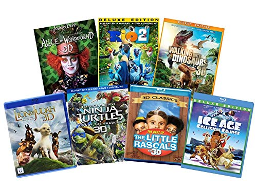 Ultimate Kids & Family 7-Movie Blu-ray 3d Collection: Disney Alice in Wonderland / Paranorman / Kubo & the Two Strings / The Boxtrolls / Teenage Mutant Ninja Turtles / Penguins of Madagascar / Thunder