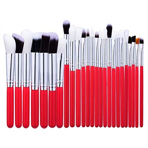 BXGZXYQ Profession Pinceau De Maquillage Ensemble Outils Trousse De Toilette Maquillage Pinceau Cosmétique En Nylon Pinceau Pour Les Yeux 25 En 1 Pinceau Cosmétique En Nylon (Couleur : Red)