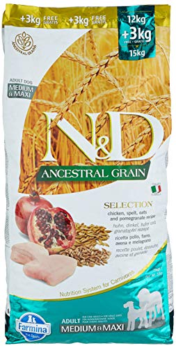 Farmina N&D Adult Medium e Maxi Low Grain, Pollo e Melograno, 12+3 kg