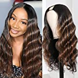 U Part Wig Human Hair Glueless Body Wave Middles Part Wig Ombre Color with Highlights Peruvian Remy Human Hair Wig 180 Density by Beata Hair (20 Inch)