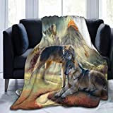 Vintage Eagle Wolf Fleece Blankets and Throws,Soft Warm Fleece Throw Blanket for Adults & Kids,Queen Size Blanket for Bedroom Office Travel Couch Sofa 60'X50'