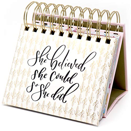 """bloom daily planners Undated Perpetual Desk Easel - Religious/Inspirational Standing Desktop Flip Calendar - (5.25"""" x 5.5"""")""""She Believed She Could So She Did"""" by Writefully His"""
