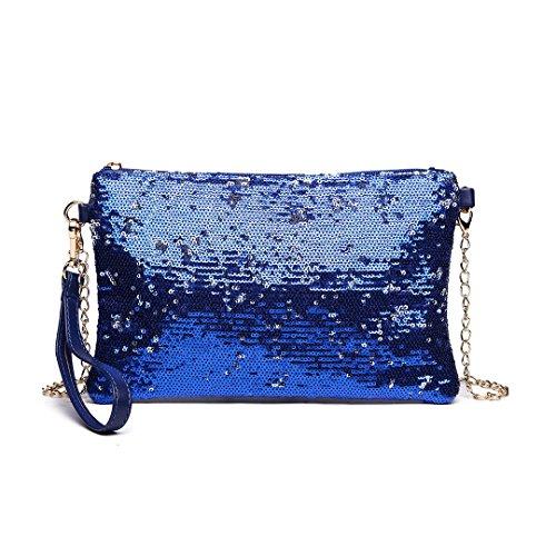 Miss Lulu Kleine Kettentasche Damen, Damen Pailletten, Brieftaschen, Synthetische Handtasche, Armada (Blau) - LH1765