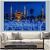 czjungbf Imprimir Islámico Azul Turquía Estambul Mezquita del Sultán Ahmed Cartel religioso sobre Lienzo Pintura de Pared para Sala de Estar Sofᠠ-60x80cm Sin Marco