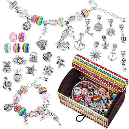 ADXCO 61 Pack Jewellery Making Kit DIY Charm Bracelet Making Sets with Gift Box Silver Plated Beads Chains Crafts Charm Bracelets Kit with Beads for DIY Craft