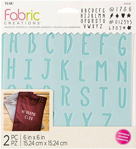 Plaid Fabric Creations Adh Stencil 6x6 2pc Alpha