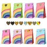 Gintan Bunte Geschenktüten,48 Stück Partytüten Papier Geschenktüten mit 64 Herzförmigen...