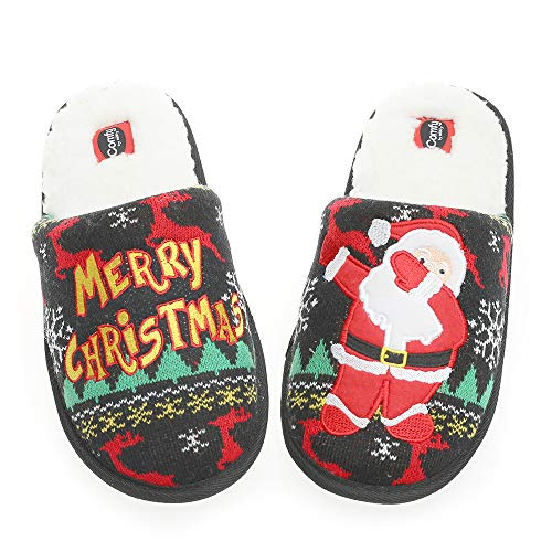 Unisex Christmas Flamingo Slippers Women's Fuzzy Plush Cozy House Shoes for Indoor Outdoor Man's Knitted Slippers (12M US Women/10 US Man, Santa Claus)
