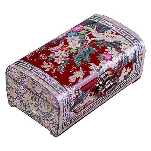 Schmuckschatulle Perlmutt Asiatischer Lack Damen Holzschmuck Schmuckstück Andenken Schatz Geschenk Mädchen Schmuck Ring Aufbewahrungsbox Chinesische Orientalische Möbel Geschenke (Color : A)